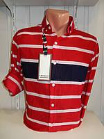 Рубашка мужская NEGRO длинный рукав, узкие + широкие полосы  001