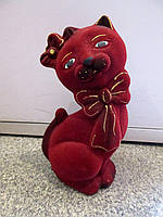 Подарок девушке - бархатная копилка из керамики Кошка