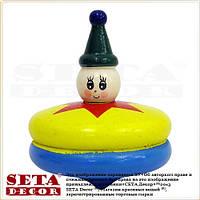 Деревянная игрушка Юла (Волчок) диаметр 5 см,жёлтая с синим