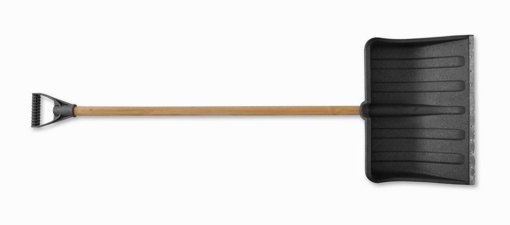 Лопата для снега пластиковая серая, с металлической планкой, 480х580 м