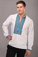 Вышитая мужская рубашка сине-черный орнамент, воротничок-стойка