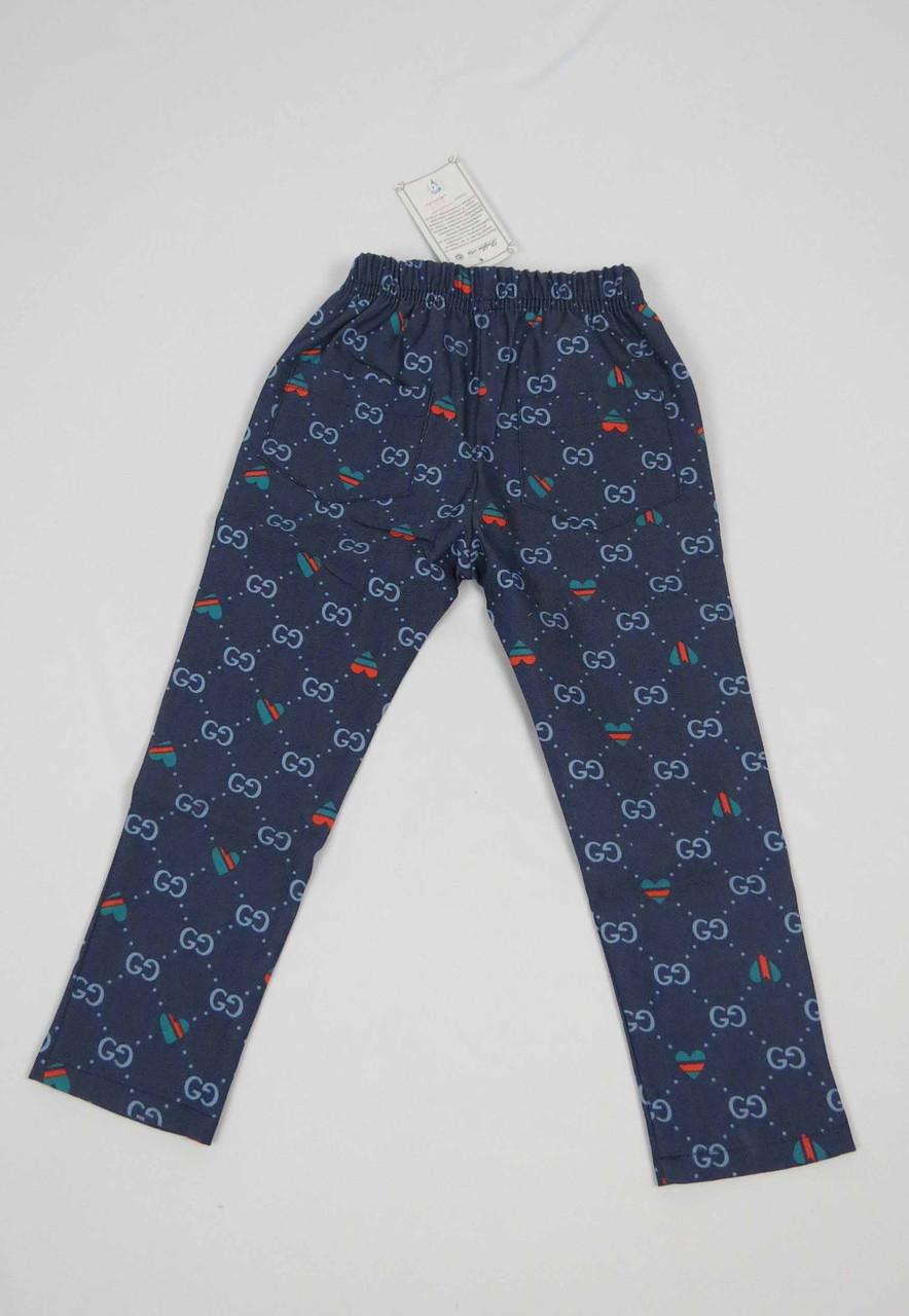 Штаны для девочки 2-5 лет с карманом, синие, фото 2