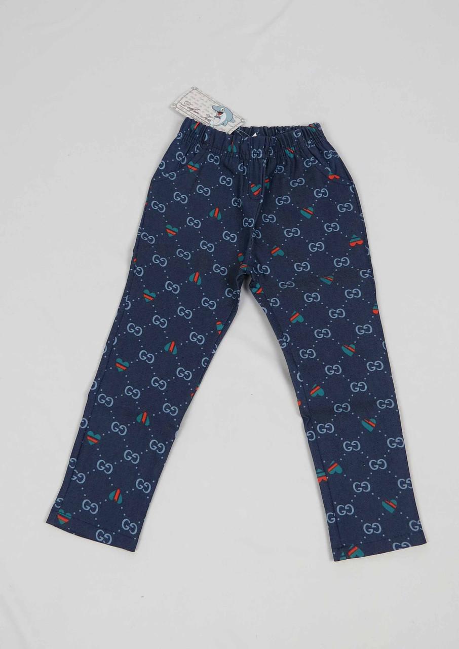 Штаны для девочки 2-5 лет с карманом, синие, фото 3