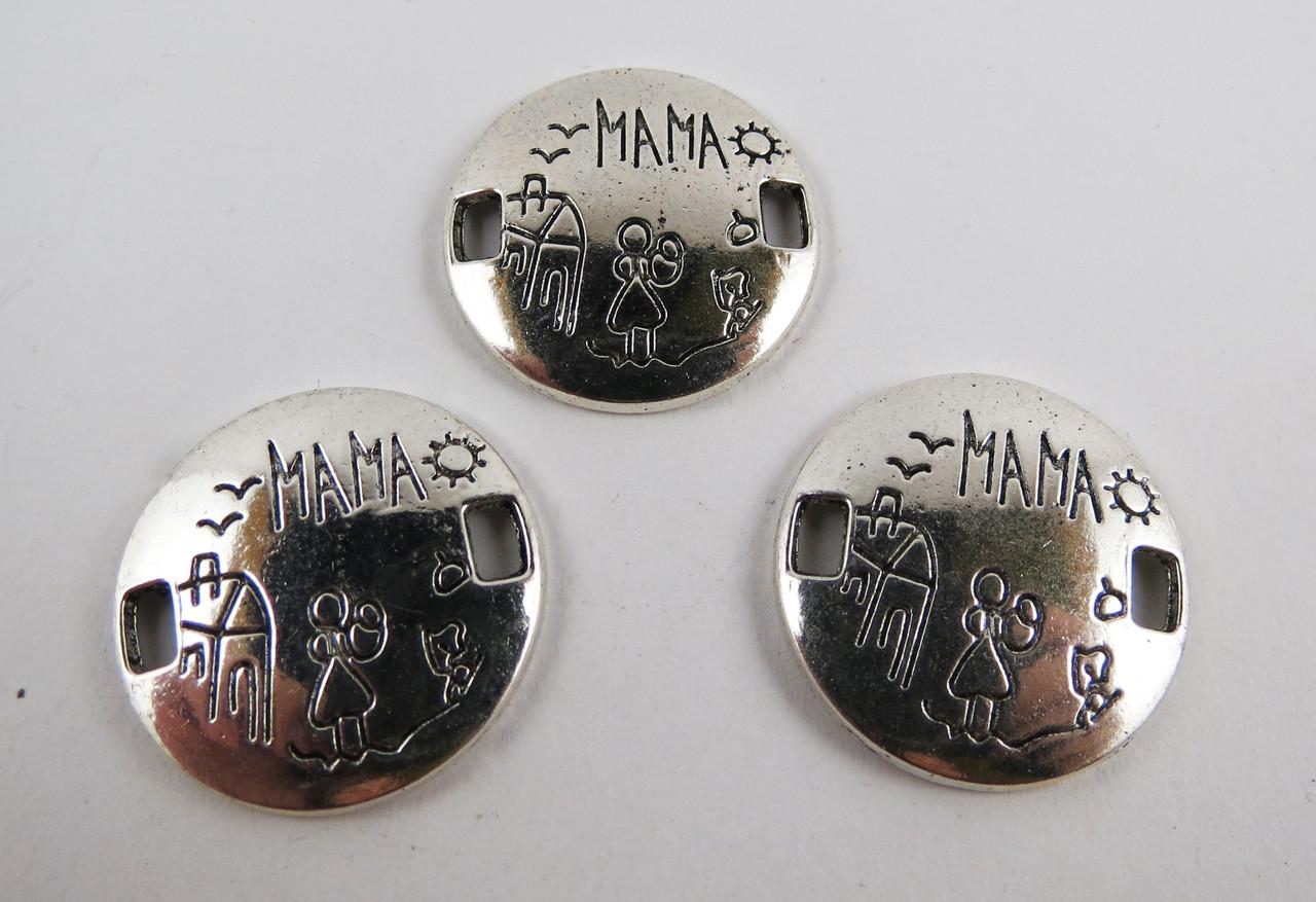 "Коннектор ""Мама"", 22 * 22 мм, Цинковый сплав, Античное серебро"