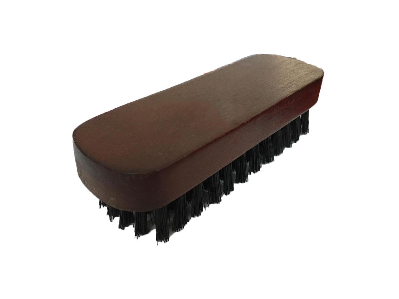 Щетка обувная  с лакированной коричневой деревянной ручкой (135 мм) , черный ворс(19 мм) W-12