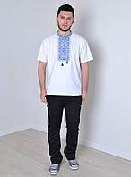 Модная мужская вышиванка белого цвета