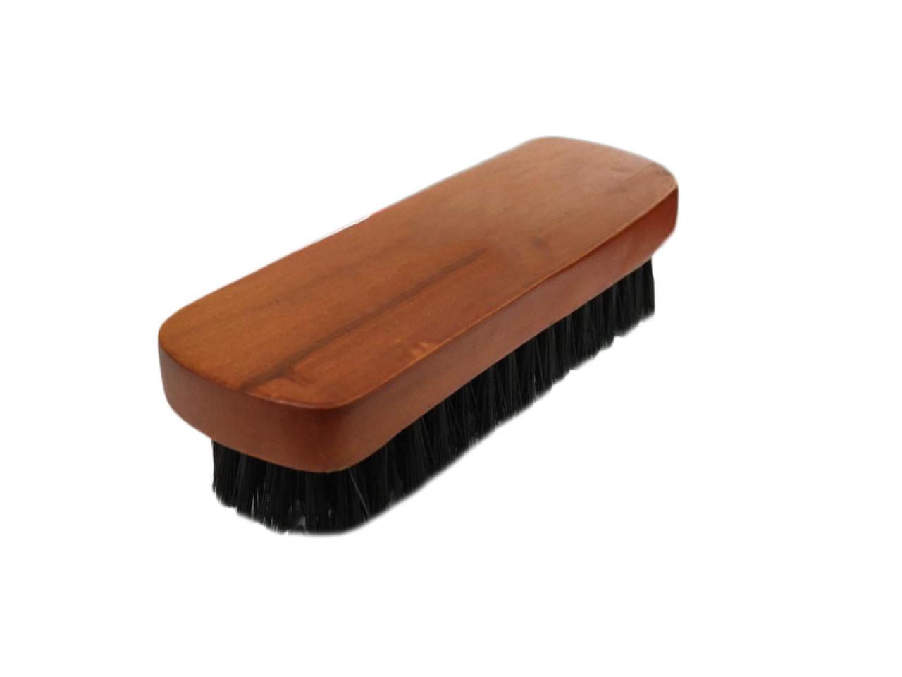 Щетка обувная со светло-коричневой деревянной ручкой (173 мм)  с черным ворсом(25 мм),  W-14