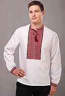 Вышитая рубашка мужская классическая в красно-черных тонах, длинный рукав и воротник-стойка