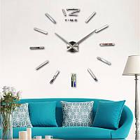 Большие настенные часы 120 см Серебро