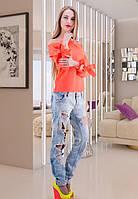 Блуза с бантами цвета персиковый неон