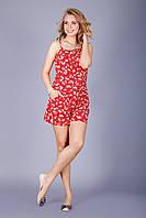 Стильный женский летний комбинезон красного цвета