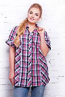 Женская рубашка-туника Ненси, в малиновую клетку(размеры 56-60)
