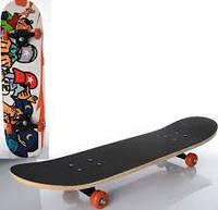 Детский скейт MS 0322-3, 7 слоев, колеса ПВХ, пластиковая подвеска, max нагрузка 45 кг, 6 расцветок