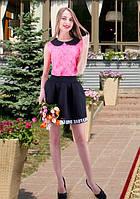 Ярко-малиновая кружевная блуза с черным воротничком