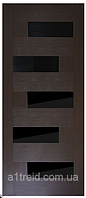 Дверное ПВХ полотно Домино черное стекло