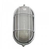 Светильник влагостойкий с решёткой MIF 022 60W (белый, чёрный) овал