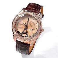 Женские часы Эйфелева башня с губками на ремешке из экокожи коричневые