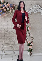 Деловой костюм с юбкой цвета бордо