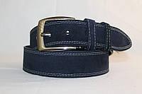Замшевый ремень тёмно-синий 45 мм пряжка матовая классическая прошитый двойной белой ниткой