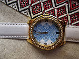 Часы кварцевые Вышиванка 2 белый ремешок, фото 3