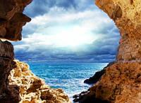 "Фотообои ""Вид на море"", Фактурная текстура (холст, иней, декоративная штукатурка)"