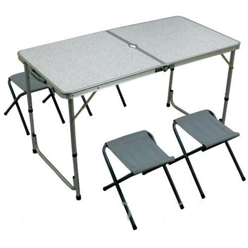 Стол туристический алюминиевый складной 120 * 60 + 4 стула, фото 1