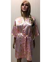 Атласный халат KR-1801 (розовый)