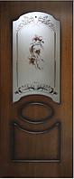 Двери шпонированые Виктория с фотопечатью на стекле
