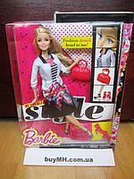 Кукла Барби модница с ресницами Barbie Style  White Jacket & Black Floral Print Skirt, фото 1