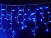 Светодиодная новогодняя гирлянда синяя бахрома 3*0.5м 150 led провод черный пвх