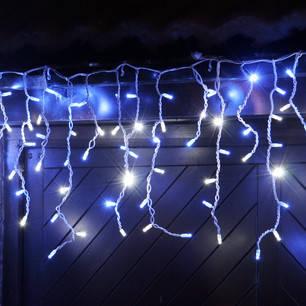 Светодиодная уличная гирлянда бело - голубая бахрома  5*0.5м 255 led белый каучук (rubber), фото 2