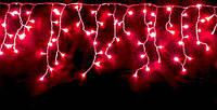 Светодиодная гирлянда красная бахрома 3*0.5м 150 led провод черный пвх