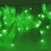 Светодиодная новогодняя гирлянда зеленая бахрома 3*0.5м 150 led провод черный пвх
