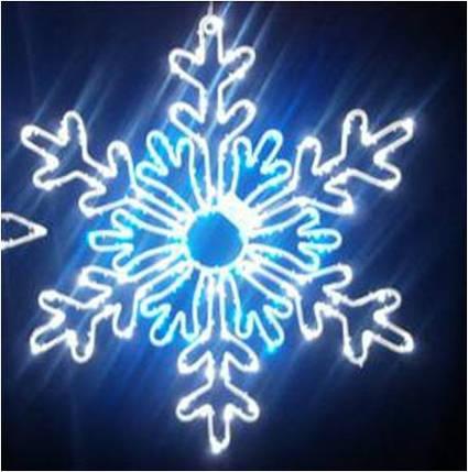Светодиодный мотив Снежинка 71 см бело-голубая, фото 2