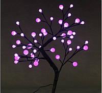 Светодиодное дерево Бонсай Снежные шарики  60см бело-розовое