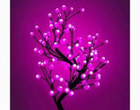 Светодиодное дерево Бонсай Снежные шарики  60см розовое