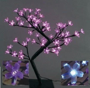 Декоративное дерево на светодиодах Бонсай Цветущая сакура  45 см розовое