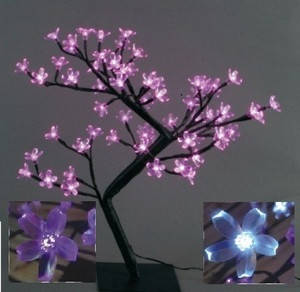 Декоративное дерево на светодиодах Бонсай Цветущая сакура  45 см розовое, фото 2