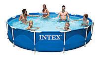 Сборный бассейн для дачи 28210, большой размер 366*76см, объем 6503 л, клапан для слива