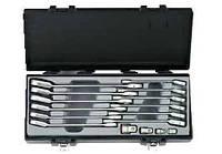 Набор ключей рожково-накидных трещоточных, отогнутых + адаптеры 16 пр. (8-19 мм)