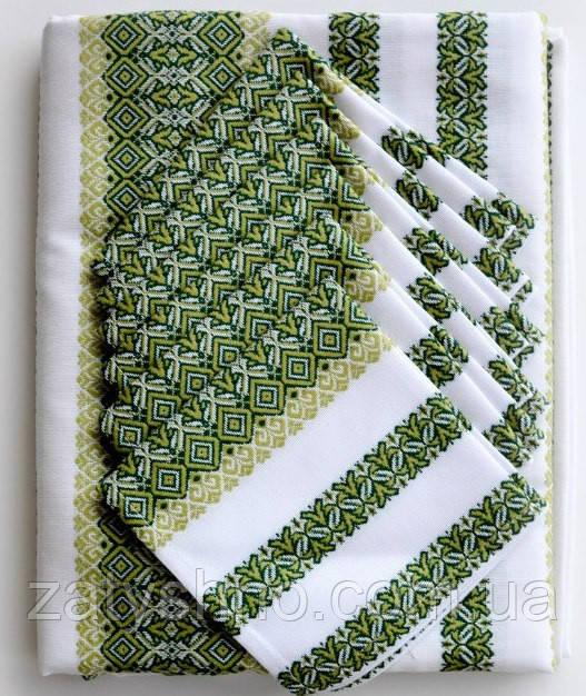 Скатерть вышитая зеленая с салфетками
