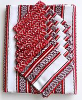 Вышытая скатерть красная с салфетками