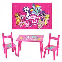 Детский столик с двумя стульчиками М 1522 «My Little Pony», деревянный, высота стола 415мм