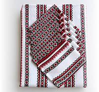 Красивая вышитая скатерть с салфетками бордовая