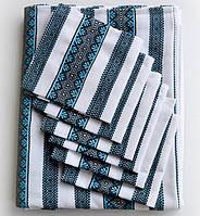 Сервировочная скатерть голубая с салфетками
