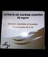 Продам цитрат кофеина (caffeine citrate) 25 мг/мл ампулы по 2,0 мл. №10 (Франция)