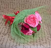 """Букет композиция цветы из конфет """"5 роз"""" цвет лососевый с бордо"""