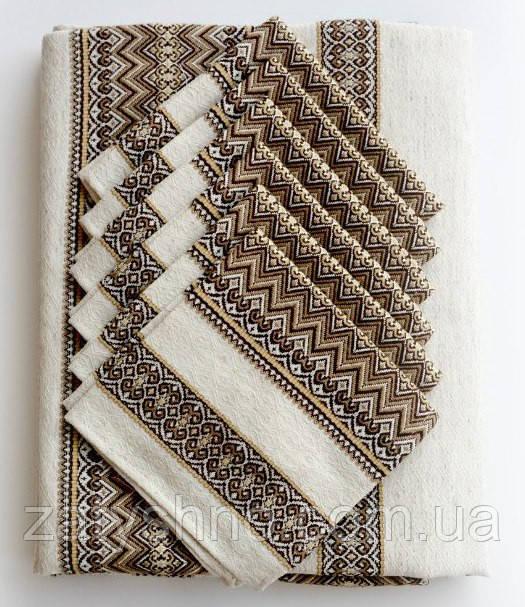 Скатертина для столу коричнева зі серветками