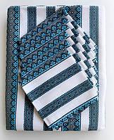 Скатертина вишита для столу синя