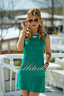 Зеленое льняное летнее Платье Софи